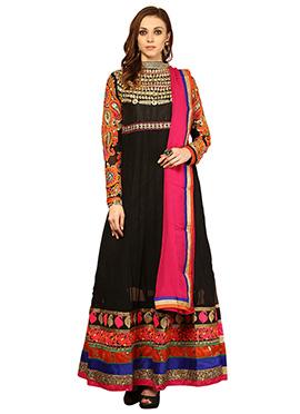 Home India Black Cotton Anarkali Suit