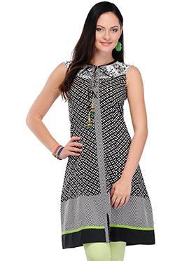 Home India Black Cotton Short Kurti