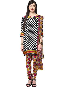 Home India Black N White Churidar Suit
