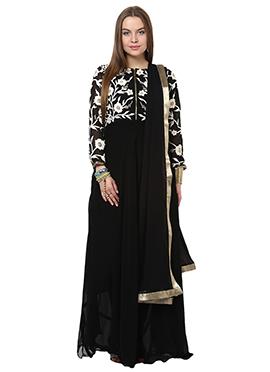 Home India Black Unstitched Salwar kameez set