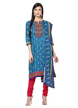 Home India Blue Churidar Suit