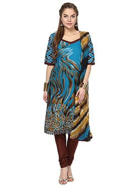 Home India Blue Churidar Suit