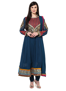 Home India Teal Blue Georgette Anarkali Suit