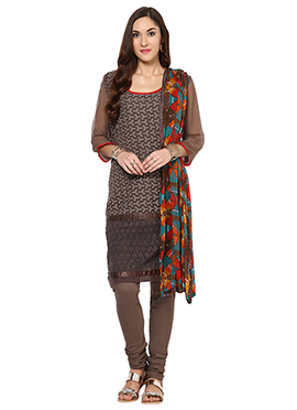Home India Brown Churidar Suit