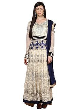 Home India Cream Cotton Anarkali Suit