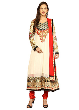 Home India Cream Faux Georgette Kalidar Suit