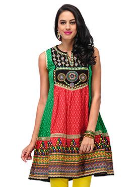 Home India Green N Red Cotton Anarkali Kurti
