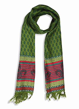 Home India Green Printed Stole