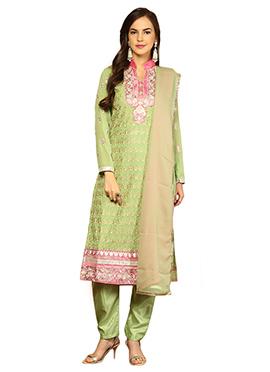 Home India Green Unstitched Salwar kameez set