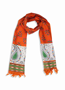 Home India Orange N White Printed Stole