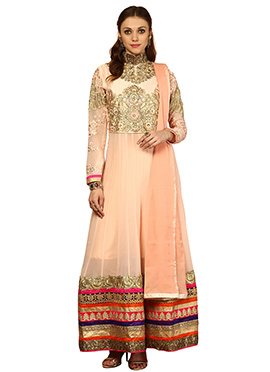 Home India Peach Cotton Anarkali Suit