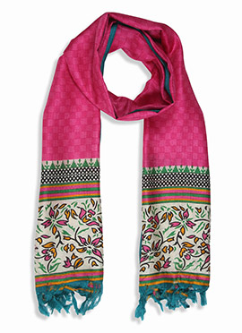 Home India Pink N White Printed Stole