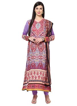 Home India Purple Unstitched Salwar kameez set