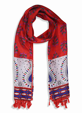Home India Red N White Printed Stole