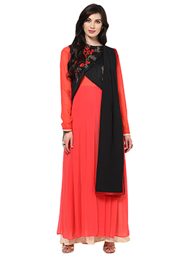 Home India Red Unstitched Salwar kameez set