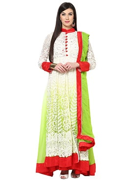 Home India White N Green Cotton Anarkali Suit