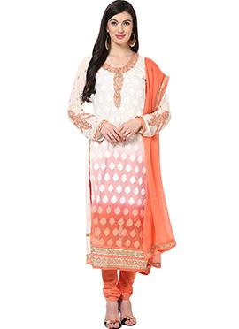 Home India White N Orange Cotton Churidar Suit