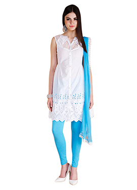 Home India White Churidar suit