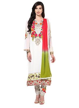 Home India White Unstitched Salwar kameez set