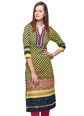 Home India Yellow Cotton Knee Length Kurti