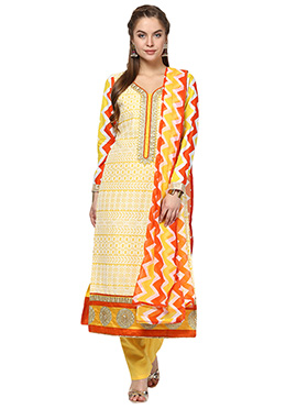 Home India Yellow Unstitched Salwar kameez set