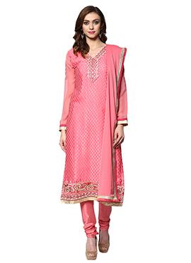 Hot Pink Cotton Churidar Suit Home India