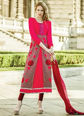 Hot Pink Embroidered Straight Suit