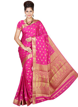Hot Pink Jacquard Saree