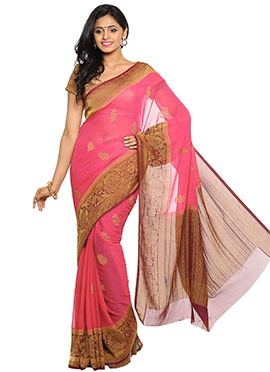 Hot Pink Silk Saree