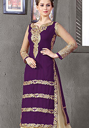 Ideal Net Lehenga Convertible Straight Pant Suit