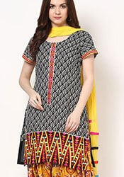 Ideal Printed Cotton Semi Patiala Suit