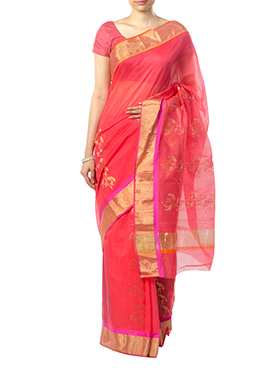 Indian August Coral Red Pure Chanderi Saree