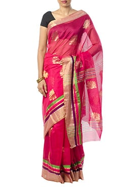 Indian August Dark Magenta Pure Chanderi Saree