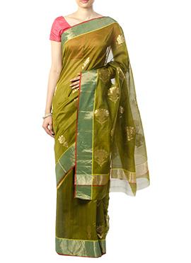 Indian August Dark Mehendi Green Saree