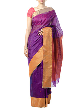 Indian August Dark Violet Pure Chanderi Saree
