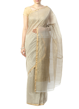 Indian August Light Beige Pure Chanderi Saree