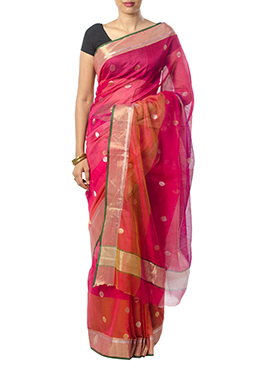 Indian August Magenta N Orange Saree