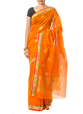 Indian August Orange Pure Chanderi Saree