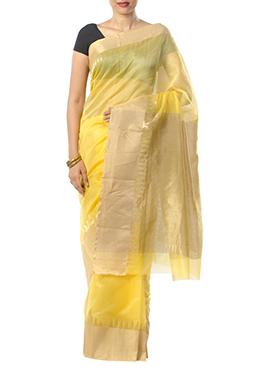 Indian August Pure Chanderi Yellow Border Saree