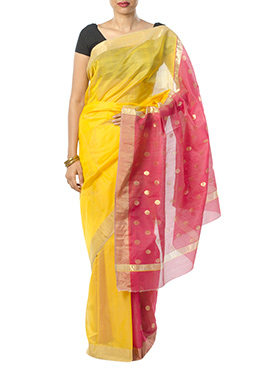 Indian August Yellow N Red Pure Chanderi Saree