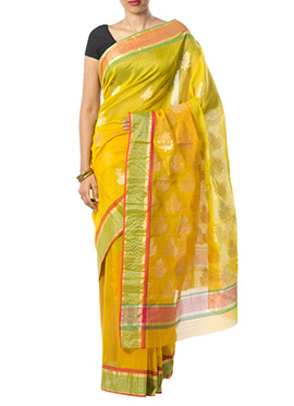 Indian August Yellow Ombre Pure Chanderi Saree