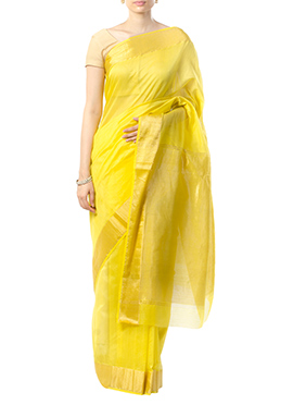 Indian August Yellow Pure Chanderi Border Saree