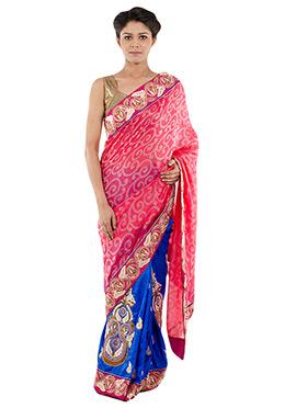 Indiancultr Blue N Pink Half N Half Saree