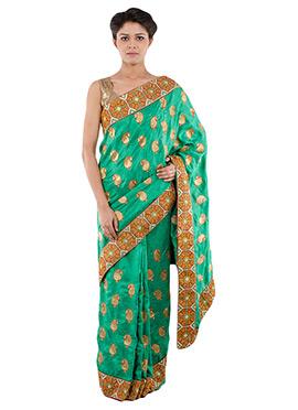 Indiancultr Green Cotton Border Saree