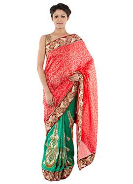 Indiancultr Green N Red Half N Half Saree