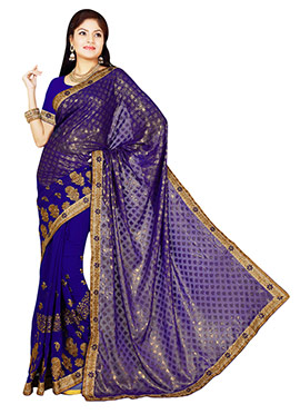 Indigo Blue Foliage Patterned Half N Half Saree
