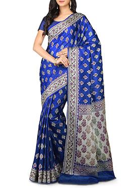 Indigo Blue Pure Silk Floral Designed Saree