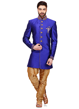 Indigo Blue Raw Silk Indowestern Sherwani