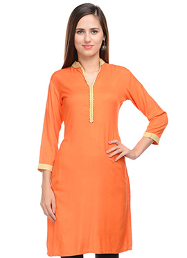 Lingra Orange Viscose Kurti