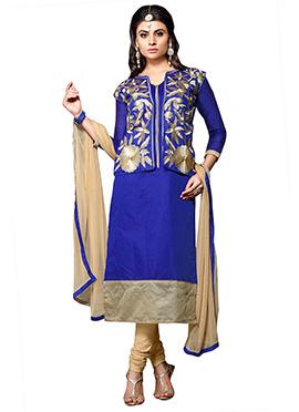 Ink Blue Jacket Model Churidar Suit